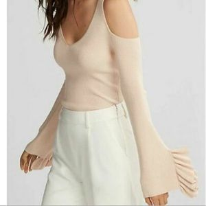 New express ruffle  sleeve cold shoulder sweater